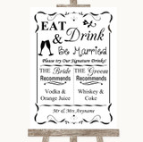 Black & White Signature Favourite Drinks Customised Wedding Sign