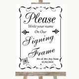 Black & White Signing Frame Guestbook Customised Wedding Sign