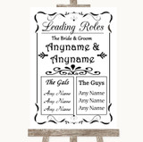 Black & White Who's Who Leading Roles Customised Wedding Sign