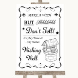 Black & White Wishing Well Message Customised Wedding Sign