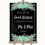 Black Mint Green & Silver Blow Bubbles Customised Wedding Sign