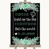 Black Mint Green & Silver Light Up The Sky Rule The World Wedding Sign