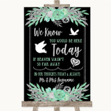 Black Mint Green & Silver Loved Ones In Heaven Customised Wedding Sign