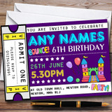 Purple Bouncy Castle Ticket Customised Children's Birthday Party Invitations