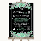 Black Mint Green & Silver No Phone Camera Unplugged Customised Wedding Sign