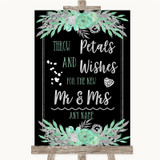 Black Mint Green & Silver Petals Wishes Confetti Customised Wedding Sign