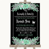 Black Mint Green & Silver Photo Guestbook Friends & Family Wedding Sign
