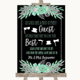 Black Mint Green & Silver Photo Prop Guestbook Customised Wedding Sign