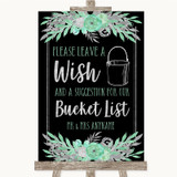 Black Mint Green & Silver Bucket List Customised Wedding Sign
