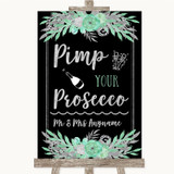 Black Mint Green & Silver Pimp Your Prosecco Customised Wedding Sign