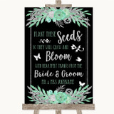Black Mint Green & Silver Plant Seeds Favours Customised Wedding Sign