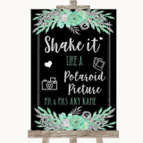 Black Mint Green & Silver Polaroid Picture Customised Wedding Sign