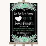 Black Mint Green & Silver Puzzle Piece Guest Book Customised Wedding Sign