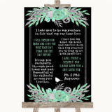 Black Mint Green & Silver Romantic Vows Customised Wedding Sign
