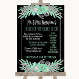 Black Mint Green & Silver Rules Of The Dance Floor Customised Wedding Sign