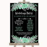 Black Mint Green & Silver Rules Of The Wedding Customised Wedding Sign