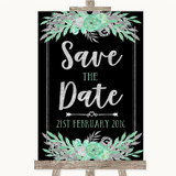 Black Mint Green & Silver Save The Date Customised Wedding Sign