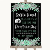 Black Mint Green & Silver Selfie Photo Prop Customised Wedding Sign