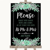 Black Mint Green & Silver Share Your Wishes Customised Wedding Sign