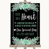 Black Mint Green & Silver Sign a Heart Customised Wedding Sign