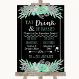 Black Mint Green & Silver Signature Favourite Drinks Customised Wedding Sign