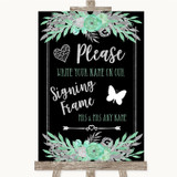 Black Mint Green & Silver Signing Frame Guestbook Customised Wedding Sign