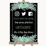 Black Mint Green & Silver Social Media Hashtag Photos Customised Wedding Sign