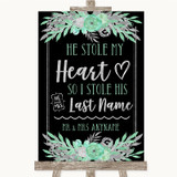 Black Mint Green & Silver Stole Last Name Customised Wedding Sign