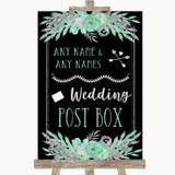 Black Mint Green & Silver Card Post Box Customised Wedding Sign