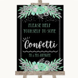 Black Mint Green & Silver Take Some Confetti Customised Wedding Sign