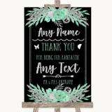 Black Mint Green & Silver Thank You Bridesmaid Page Boy Best Man Wedding Sign