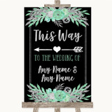 Black Mint Green & Silver This Way Arrow Left Customised Wedding Sign