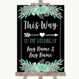 Black Mint Green & Silver This Way Arrow Right Customised Wedding Sign