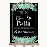 Black Mint Green & Silver Toilet Get Out & Dance Customised Wedding Sign