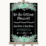 Black Mint Green & Silver We Are Getting Married Customised Wedding Sign