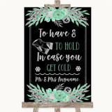 Black Mint Green & Silver Wedding Blanket Scarf Customised Wedding Sign