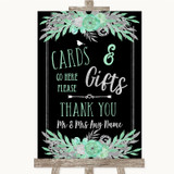 Black Mint Green & Silver Cards & Gifts Table Customised Wedding Sign