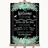 Black Mint Green & Silver Welcome Order Of The Day Customised Wedding Sign