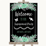 Black Mint Green & Silver Welcome To Our Engagement Party Wedding Sign