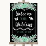 Black Mint Green & Silver Welcome To Our Wedding Customised Wedding Sign