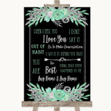 Black Mint Green & Silver When I Tell You I Love You Customised Wedding Sign
