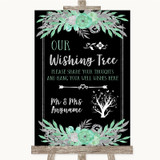 Black Mint Green & Silver Wishing Tree Customised Wedding Sign