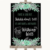 Black Mint Green & Silver Wishing Well Message Customised Wedding Sign