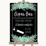 Black Mint Green & Silver Cigar Bar Customised Wedding Sign