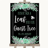 Black Mint Green & Silver Guest Tree Leaf Customised Wedding Sign