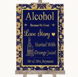Blue & Gold Alcohol Bar Love Story Customised Wedding Sign