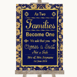 Blue & Gold As Families Become One Seating Plan Customised Wedding Sign