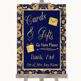 Blue & Gold Cards & Gifts Table Customised Wedding Sign
