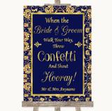 Blue & Gold Confetti Customised Wedding Sign