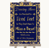 Blue & Gold Dancing Shoes Flip-Flop Tired Feet Customised Wedding Sign